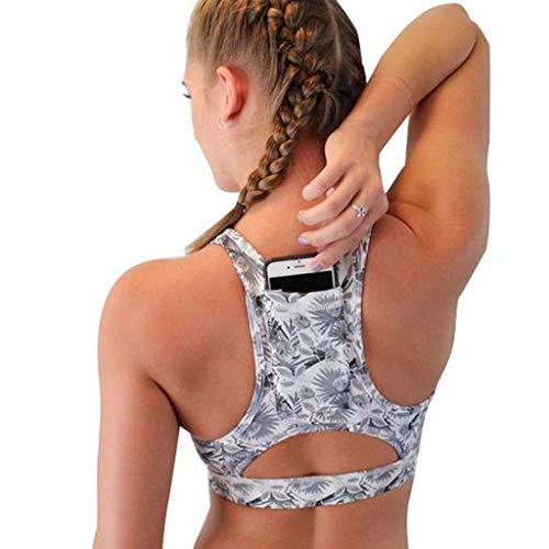 (Ugood Women Solid Sport Bra Back Pocket Running Yoga Bras Padded High Impact Workout (Size:M, Color-27))