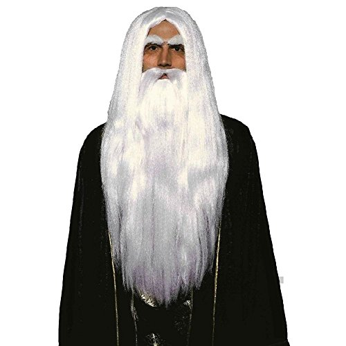 Merlin Wig And Beard Set (Merlin Wig and Beard Set White Gandalf Saruman Adult Fancy Dress Costume Acsry)
