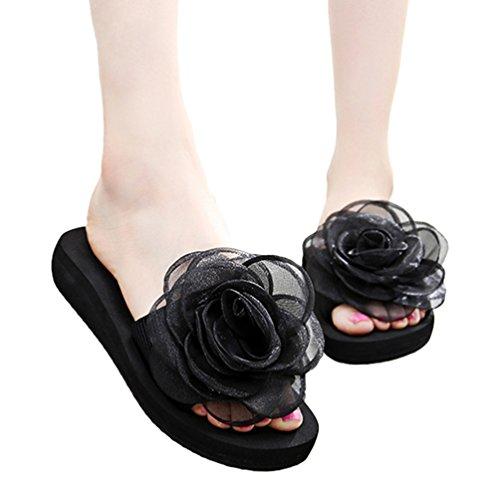 YOUJIA Mujer Boho Flores Zapatillas Verano Playa Plataforma Zapatos de cuña Chanclas #2 Negro