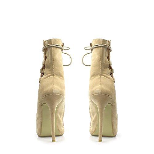 Spillo Heel Suedette Aperta out In Dora Stivaletto Nude High Cut Con Stringata Punta Design E Ladies Ghillie Tacco Stile A wpHqRXnEq