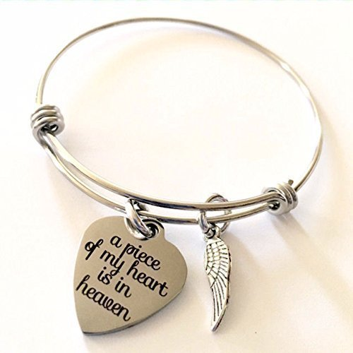Memorial Jewelry, A Piece of My Heart is in Heaven Expandable Bangle Bracelet