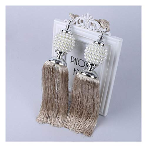 XDH-RTS 1 Pair Europe Style Pearl Ball Curtain Clips Tassel Tieback Elegant Hanging Ball Belt Curtains Fringe Strap Buckles