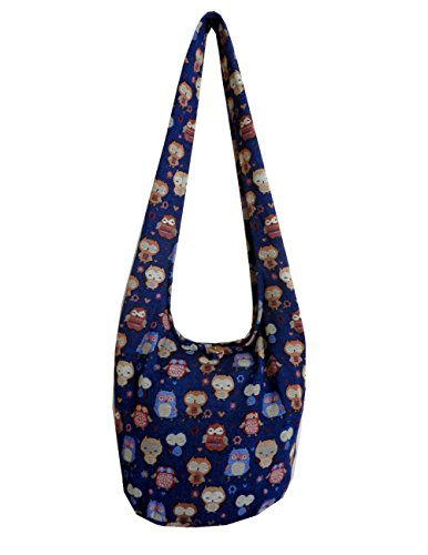 BTP! Owl Hippie Hobo Sling Crossbody Bag Messenger Purse Thai Cotton Large (Blue OL9) by BenThai Products