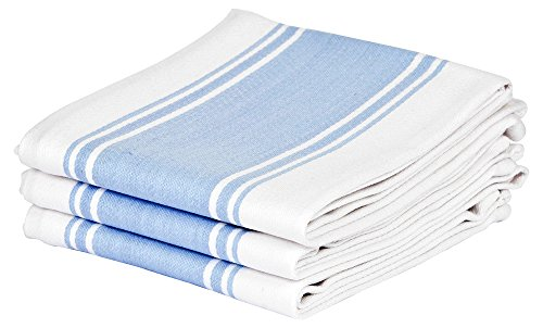 Cucinare Kitchen Tea Towels By 100% Cotton, Professional Grade, Finely Woven, Large, Absorbent with Vintage Striped Tea Towel, Set of 3 or 6 (Size 20
