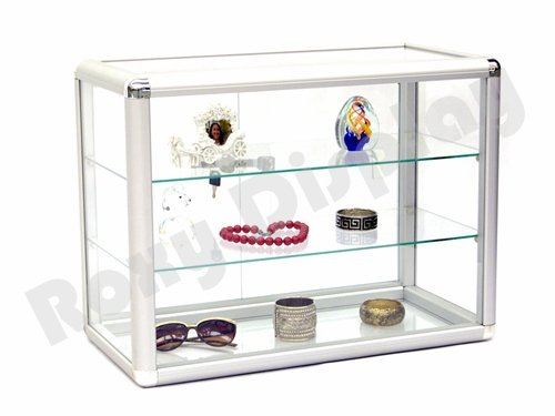 (SC-KD) ROXYDISPLAY™ COUNTER TOP GLASS CASE With one free LED light, Standard aluminum framing,with sliding glass door and lock (SC-KDTOP+SC-PYLED)