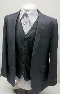 B005C74994 New Mens 3 Piece (Jacket, Pants & Vest) Shiny Gray Sharkskin Slim Fit Dress Suit