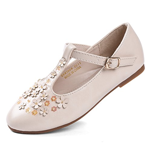 EIGHT KM EKM7008 Toddler & Girl's Ballet Flats Mary Janes Dress Shoes BEIGE-13