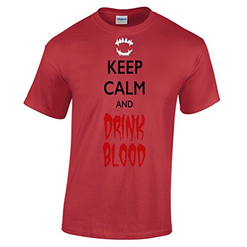 Keep Calm and Drink Blood Halloween Scary Costume Funny Fangs Dracula Mens T-Shirt (Funny College Halloween Costume Ideas Men)