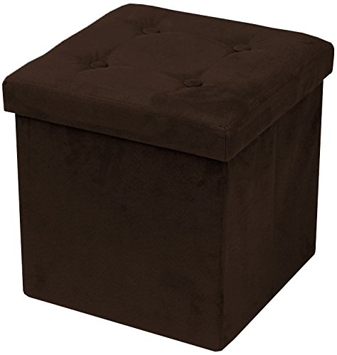 Sorbus Storage Ottoman Bench – Collapsible/Folding Bench Chest with Cover – Perfect Toy and Shoe Chest, Hope Chest, Pouffe Ottoman, Seat, Foot Rest, – Contemporary Faux Suede (Chocolate)