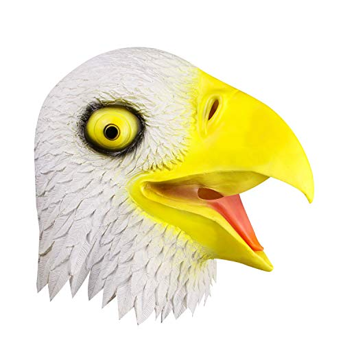 White Eagle Head Mask, Halloween Costume Party Decorations Birds Hawk Latex Mask]()