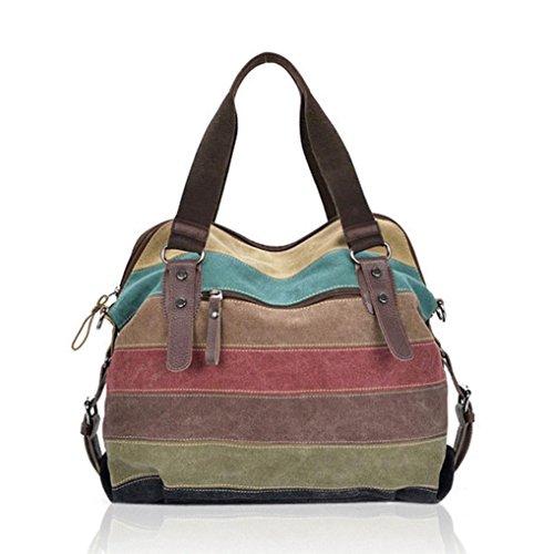 DDLBiz, Borsa a spalla donna, borse a mano, Sacchetti di spalla della banda delle donne Canvas Handbags contrasto di colore Crossbody Borse