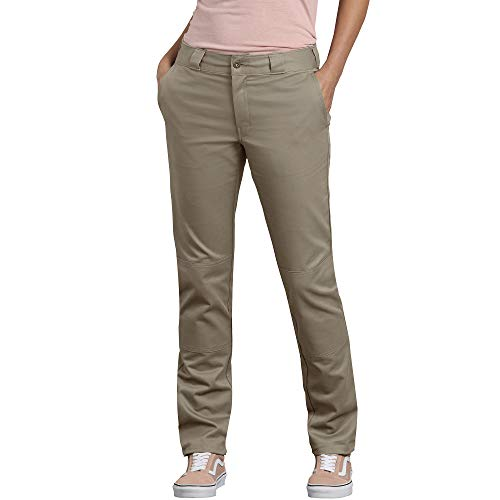 Dickies Women's Double Knee Work Pant with Stretch Twill, Desert Sand, 14