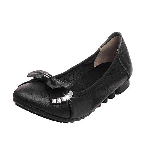 AgooLar Femme Tire à Talon Bas PU Cuir Serte Rond Chaussures Légeres Noir 6ri0DplwQp