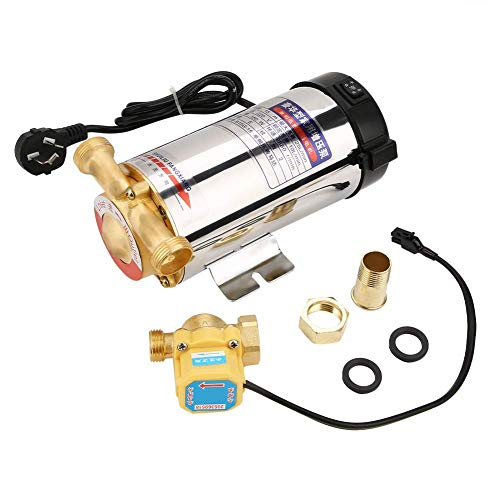 220V 150W Automatic Boost Water Pump Pressure Boost Stainless Steel Shell for Tap Water Pipeline Household Shower Washing Machine (CN Plug)