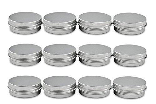 Aluminum Tin Jars with Lids, 60ml (2.0 oz) - Pack of 12