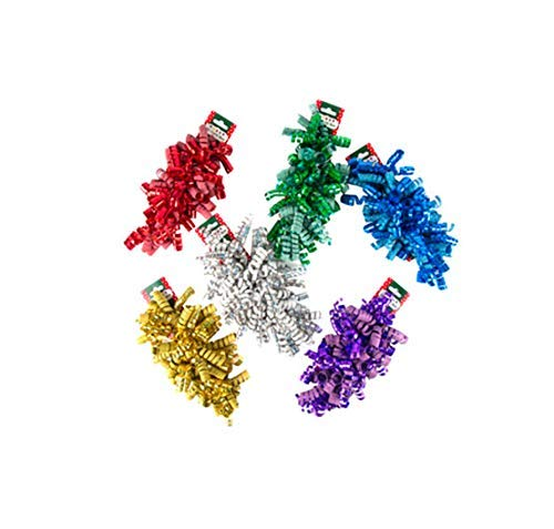 (Christmas Curly Bow Ribbon Sparkly Shiny Purple Gold Red Green White Blue (Set of 18))