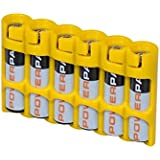 """Storacell by Powerpax Slim Line """"AAA"""" Battery Caddy, Yellow - Holds 6 """"AAA"""" Batteries"""