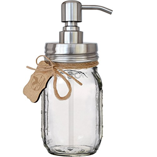 Premium Rust Resistant 304 18/8 Stainless Steel Mason Jar Soap Pump / Lotion Dispenser Kit by Premium Home Quality - Includes 16 oz (Regular Mouth) Glass Mason Jar (Brushed Stainless Steel) (Glass Jar Dispenser)