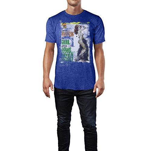 SINUS ART® The Girl with the Long Green Heart Herren T-Shirts stilvolles blaues Cooles Fun Shirt mit tollen Aufdruck