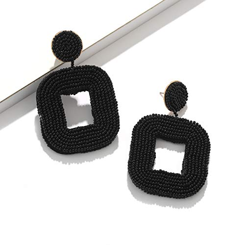 boderier Beaded Hoop Earrings Bohemian Beaded Square Dangle Statement Earrings (Black)