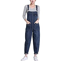 Lentta Women's Loose Baggy Denim Bib Harem Overalls Romper Jumpsuit Pants (XX-Large, Blue01)