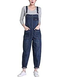 Women's Loose Baggy Denim Bib Harem Overalls Romper Jumpsuit Pants