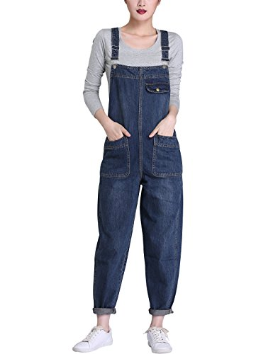 Lentta Women's Loose Baggy Denim Bib Harem Overalls Romp (Large, Blue)