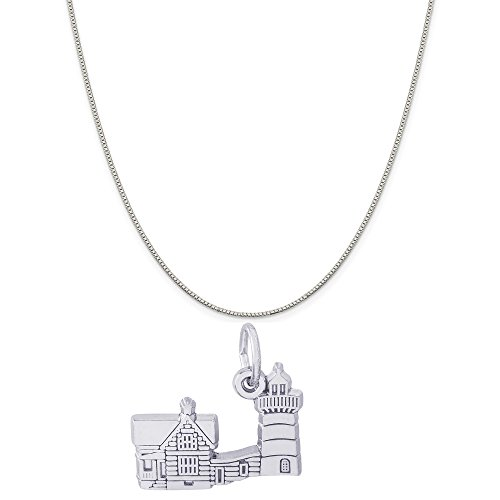 Rembrandt Charms Sterling Silver Nubble Cape Neddick, ME Lighthouse Charm on a Box Chain Necklace, 18