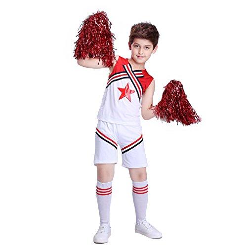 Dance Team Costumes Uniforms (UNISEX CHILDREN KIDS CHEERLEADER FANCY DRESS OUTFIT COSTUME SPORTS TEAM UNIFORM (7-9 Years-Boys, Red & White))