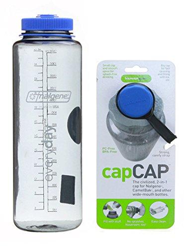 Nalgene Grey w/ Blue Top Cap Silo Tritan 48oz with Blue capCAP Bottle Cap Replacement.