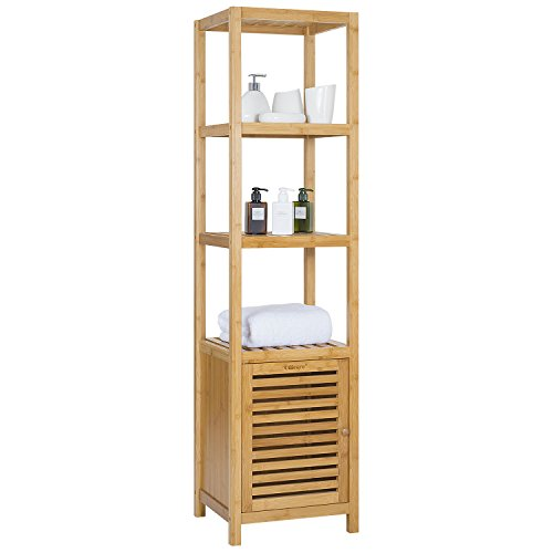Tall Side Unit (Ollieroo Bamboo Bathroom Shelf 5-Tier Multi-functional Storage Rack Shelving Unit Size L14.2 x W13 x H55.1 (5 Tier))