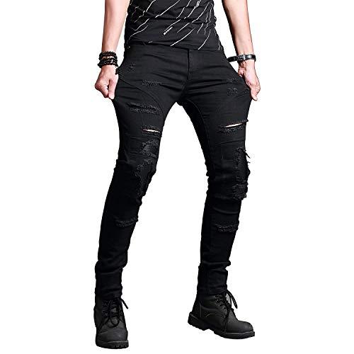 Mezclilla De De La De Pantalones Flacos Denim Negro Skinny Colour Estrechos Mezclilla Hombres Moda De Elásticos Pantalones Pantalones Destruidos De Los Z6EOwBq