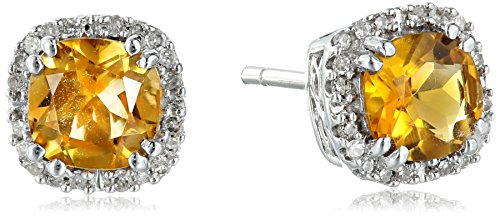 Citrine Diamond Earrings And (10k White Gold Citrine Cushion with Diamond Stud Earrings)