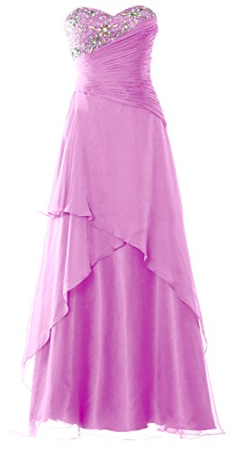 MACloth Strapless Long Prom Dress Crystals Tiered Chiffon Formal Evening Gown Rosa