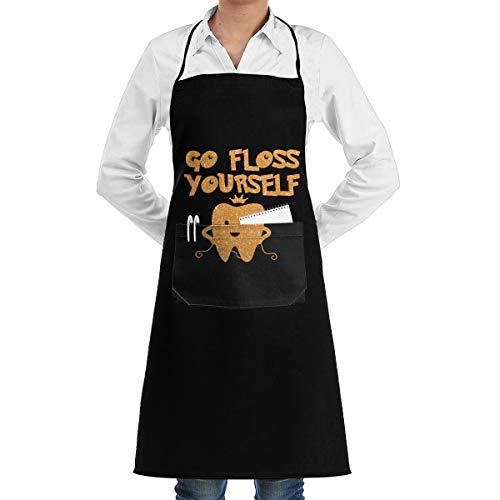 - Wodehous Adonis Go Floss Yourself Dental Dentist Professiona Adjustable Kitchen Chef Bib Apron with Pockets for Men Women