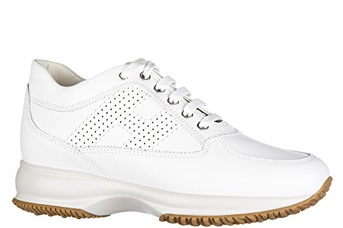 Hogan scarpe sneakers donna in pelle nuove interactive h bucata bianco
