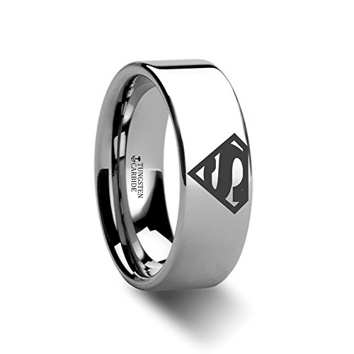 Superman Symbol Super Hero Polished Tungsten Engraved Ring Jewelery - 8mm -