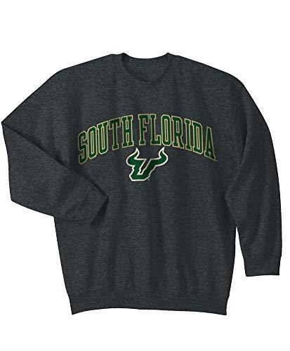 (Elite Fan Shop NCAA Men's South Florida Bulls Crewneck Sweatshirt Dark Heather Arch South Florida Bulls Dark Heather X Large)