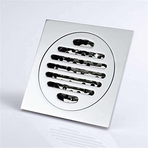 Tile Insert Square Shower Floor Drain 4-Inch Pure Cupper Grate Strainer With Removable Cover Anti-Clogging, Chrome Finish by YJZ (Image #3)