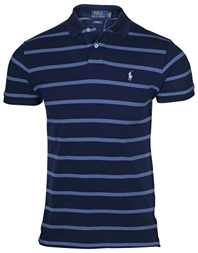 Polo Ralph Lauren Mens Custom Fit Striped Polo Shirt ( Navy/Blue, - Lauren Ralph Navy Polo