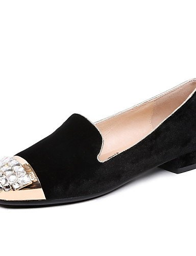 PDX/ Damenschuhe - High Heels / Ballerinas - Outddor / Lässig / Sportlich - Samt - Blockabsatz -Absätze / Komfort / Gladiator / Rundeschuh / black-us5.5 / eu36 / uk3.5 / cn35