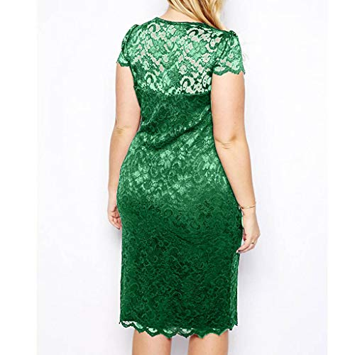 TnaIolral Women Dresses Summer Plus Size Solid Short Sleeve V-Neck Lace Hollow Out Skirt (XL, Green) ()