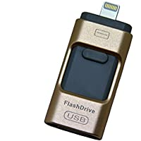 USB Flash Drives for iPhone 32GB Pen-Drive Memory Storage,U disk,Mobile U disk,Qiangquan Jump Drive Lightning Memory Stick External Storage, Memory Expansion for Apple IOS Android Computers (Gold)