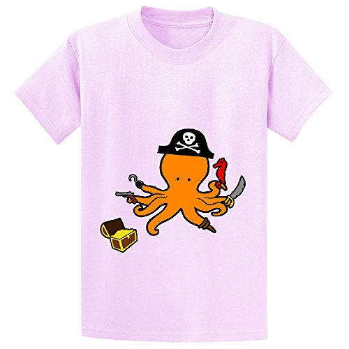 Price comparison product image octopus pirate cute Youth Crew Neck Short Sleeve T-shirt Pink