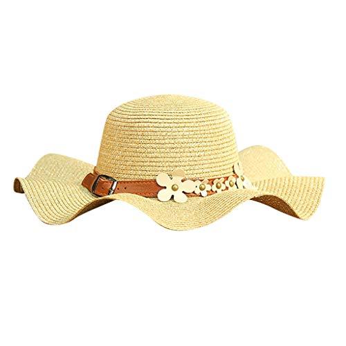 XILALU Women Beach Straw Hat Jazz Sunshade Panama Trilby Fedora Gangster Cap Packable Wide Brim Beach Cap Beige -