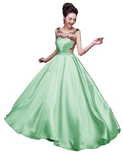 Beauty-Emily drapeado sin mangas del O-Cuello Vestidos Transparente la tarde Verde claro