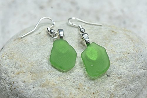 Custom Pair of Genuine Surf Tumbled Dangling Green Sea Glass Earrings - (1 Set)