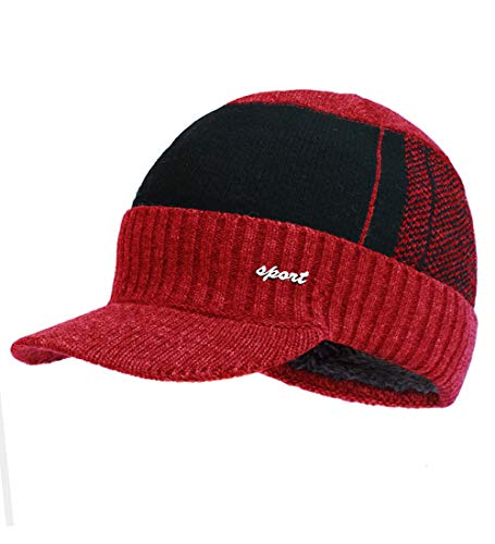 y Hat Winter Warm Thick Knit Beanie Cap Fleece Lined Skull Ski Cap with Visor Red ()
