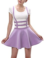 Urban CoCo Womens Elastic Waist Pleated Short Braces Suspender Skirt