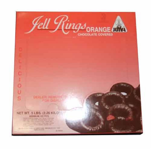 Joyva Chocolate Covered Orange Jell Rings - 5 pound -